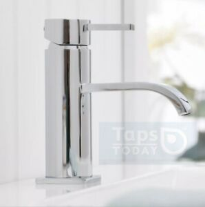 Curved Chrome Basin Mono Mixer Bathroom Sink Tap & FREE Click Clack Waste