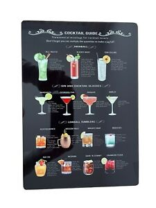 Classic Cocktail Recipes Sign novelty aluminium Metal Wall plaque A4 Bar Fun