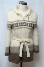 Alafoss of Iceland Icewool Womens Vintage Wool Sweater Jacket Hood Belt S Small