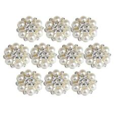 10pcs Pearl Crystal Rhinestone Buttons Flower Flatback Wedding Embellishment