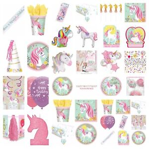 Magical Unicorn Party Tableware Cups Plates Napkins Hats Invitations etc