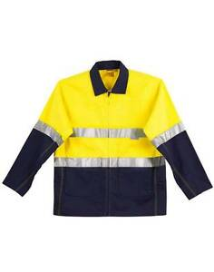HVYWT COTTON DRILL JACKET HI-VIS 3M TAPE AS/NZS4602.1:2011 QUILTED LINING