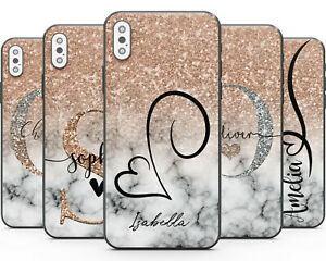 Matt Finish Custom Rose Gold Marble Phone Case Cover for Apple iPhone Name Print