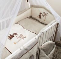 6 PIECE PCS COT BED BEDDING SET + SAFETY BUMPER, FITTED SHEET GIRAFFE