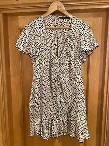 Zara Black And White Spot Frill Plunge Wrap Style Summer Dress Size L
