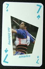 1 x playing card London 2012 Olympic Legends Jan Zelezney Athletics 7 Spades