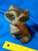 """Vintage Flocked Racoon Bank W/ Cap Hong Kong Toy 1960s-70s Fuzzy Fur 6"""" Tall"""