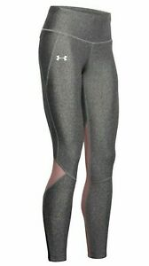 New Women's Under Armour leggings Fly-Fast Black Light Heather/Hushed Pink