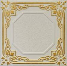 Faux Finish Styrofoam Ceiling Tile R32 Gold Plated White Just Glue Up