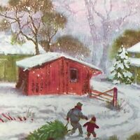 Vintage Mid Century Christmas Greeting Card Bringing Home The Tree Snowy House