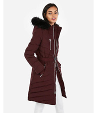 NEW EXPRESS wine fur hoodie puffer belted coat jacket s DOWN FILLED!