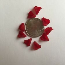 50 pcs Dainty Small Frosted Red Wine Trumpet Flower Acrylic Beads