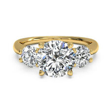 Real 18K Yellow Gold 0.90Ct Solitaire Diamonds Engagement Three Stone Ring 6 7 8