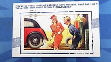 Vintage Bamforth Comic Postcard 1930s Bra Brassiere Boobs Car Tyre Fitter Tubes