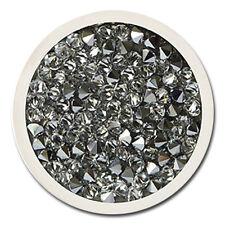 Silver Crystal Rock Carlo Biagi Coin Swarovski Druzy Jewelry C-55