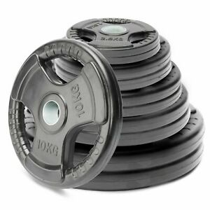 2 Inch Olympic Tri-grip Weight Plates Lifting Weights Gym Home Rubber Encased UK