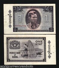 BURMA MYANMAR 1 KYAT P52 1965 BUNDLE AUNG BOAT FISHING NET UNC*CURRENCY 100 NOTE