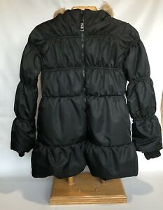 Girl's Black Puffer Coat Jacket Size Large 10/12 Fur Hood The Children's Place