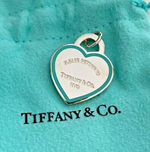 Return to Tiffany Medium Blue Heart Tag Charm in Sterling Silver