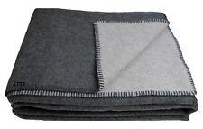 Warme Weiche Wohndecke Wolldecke Kuscheldecke  140 x 200 cm Wolle Grau