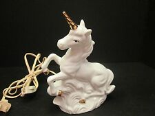 1x Albert Price China Magical Unicorn White w/ Gold Accents Electric Lamp Light