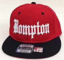 BOMPTON COMPTON 3D EMBROIDERED FLAT BILL SNAPBACK BASEBALL CAP HAT RED/BLACK