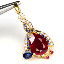 RUBY PIGEON BLOOD RED SAPPHIRE PEAR PENDANT 12 CT.925 STERLING SILVER GOLD WOMEN