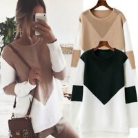 EG_ Casual Color Loose Long Sleeve Sweater Women's Knitwear Pullover Jumper Chea