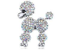 Poodle Show Dog Pin Brooch Jewelry Lady Aurora Borealis Crystal Rhinestone Poofy