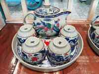 Tea pot set ceramic Chinese Dragon with teacups and tray