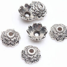 100Pcs Tibetan Silver Plated Wave Flower Carved Spacer Bead Caps Jewelry Makings