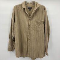 Woolrich Mens Button Front Shirt Beige Textured Long Sleeve 100% Cotton Pocket L