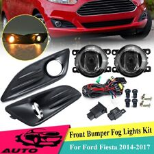 For Ford Fiesta 2014-2017 Pair Bumper Fog Light Lamps w/ Cover Switch Bulbs Kit