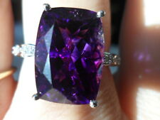 14k Moroccan Amethyst & Diamond White Gold Ring 7.73 WOW STUNNING ONE OF A KIND