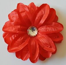 "5"" Bright Red Tropical Lily Artificial Fabric Silk Flower Hair Clip Pinup Luau"