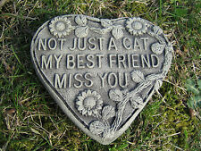Cat memorial heart stone garden ornament
