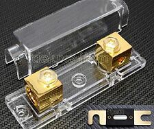 IN CAR AUDIO VIDEO STEREO ANL GOLD PLATE FUSE HOLDER 0 2 4 GAUGE 200 AMP 200A