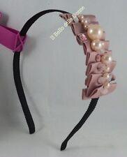 CERCHIETTO ferma capelli nero CAMOMILLA con raso rosa con perle e strass