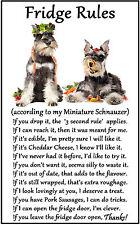 "Miniature Schnauzer Dog Gift - Large Fridge Rules flexible Magnet 6"" x 4"""