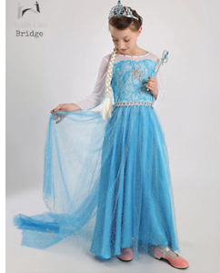 Queen Elsa and Anna Cosplay Costume Girls Outfit Kids Party Fancy Dress Up