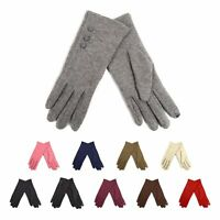 Ladies' Smartphone Accessible Winter Gloves with Button Accents Touch Screen Use
