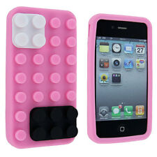 Light Pink Lego Silicone Skin Case Cover for iPhone 4 / 4S