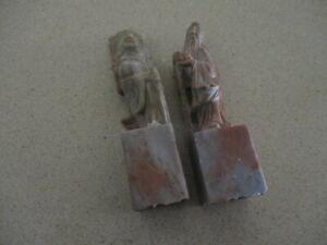 Pair of Chinese Vintage Soapstone Seals/Stamps - Buddha & Fu Lu Shou