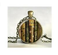 Chic teacher's book Gift Cabochon Tibetan Bronze Glass Chain Pendant Necklace
