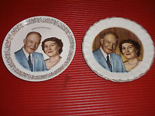 "2 VINTAGE PORCELAIN PLATES IKE & MAMIE EISENHOWER APPROX 7 1/2"" BOTH W/LIPSTICK"