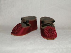 """Leather shoes French style for antique doll size 3 3/16"""" (or 95mm)"""