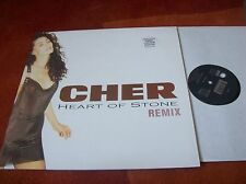 """CHER - heart of stone (remix) 12"""" single 1990 + limited edition poster EX"""