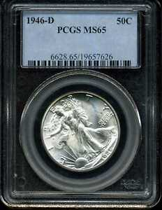 1946-D 50C Walking Liberty Half Dollar MS65 PCGS 19657626