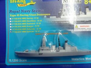 HMS Duncan type 45 on a card New. waterline diecast Triang Minic Ships