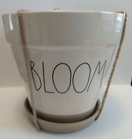"Rae Dunn BLOOM Large Planter Ceramic Tan Unglazed Bottom Approx. 8""H & 8""W"